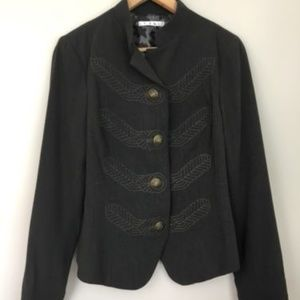 Cabi 221 Charcoal Blazer Military Embroidered
